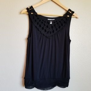 anthropologie weston wear black crochet tank